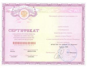 Образец выдаваемого сертификата